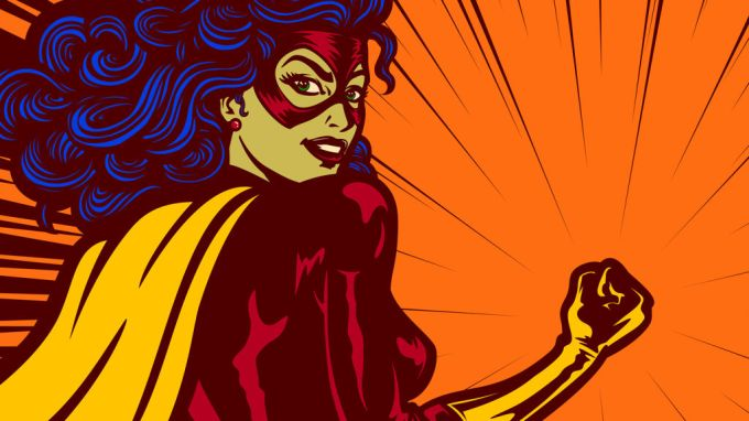 Pop art comics style superheroine with clenched fist female superhero vector illustration